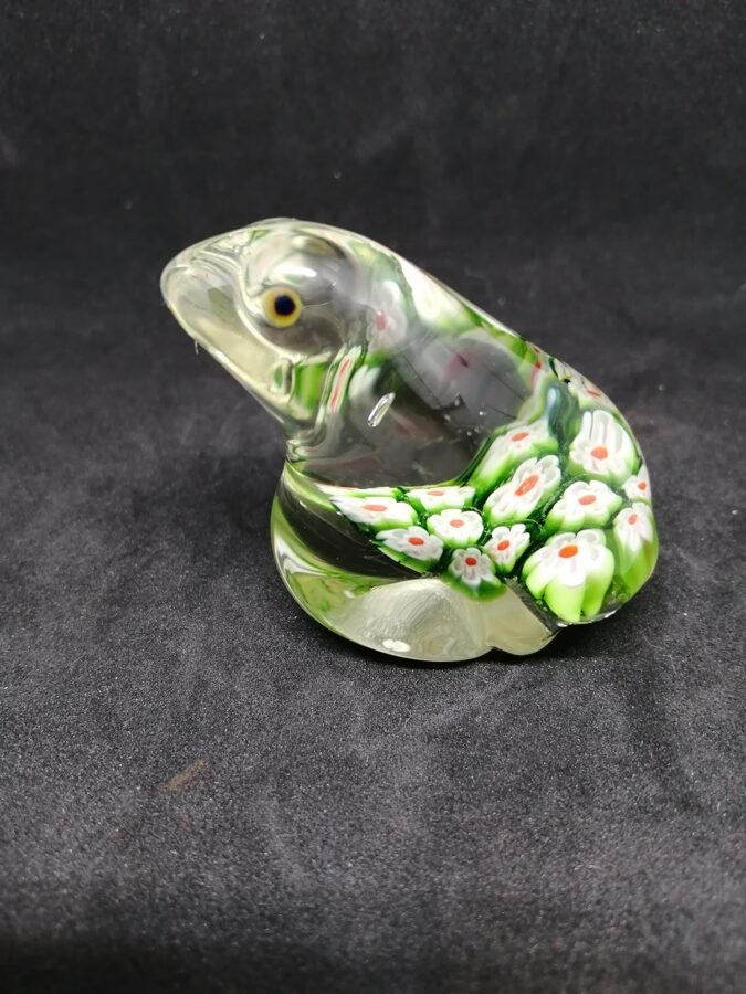 Glass Frog Floral Paperweight