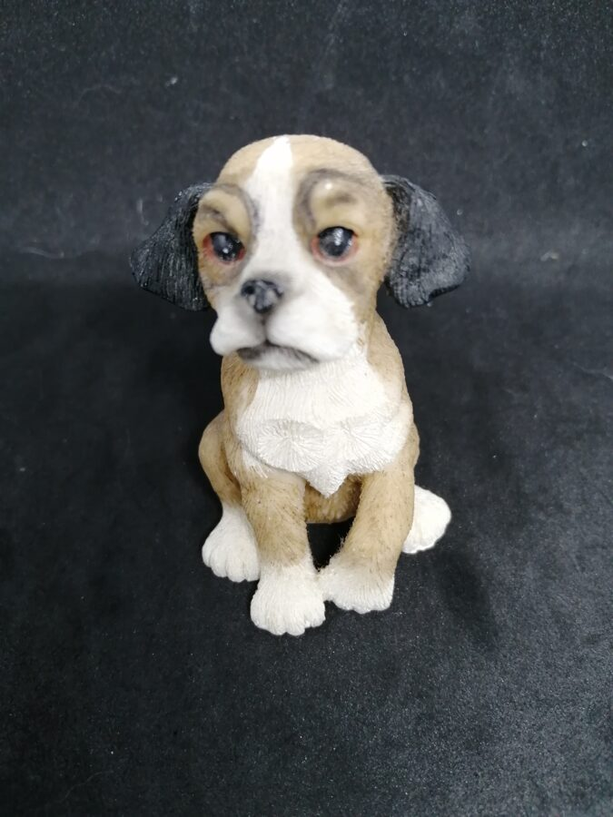 Brown and White Sitting Puppy Dog Ornament