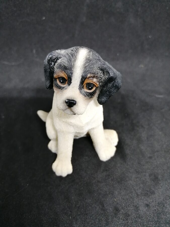 Black and White Sitting Puppy Dog Ornament