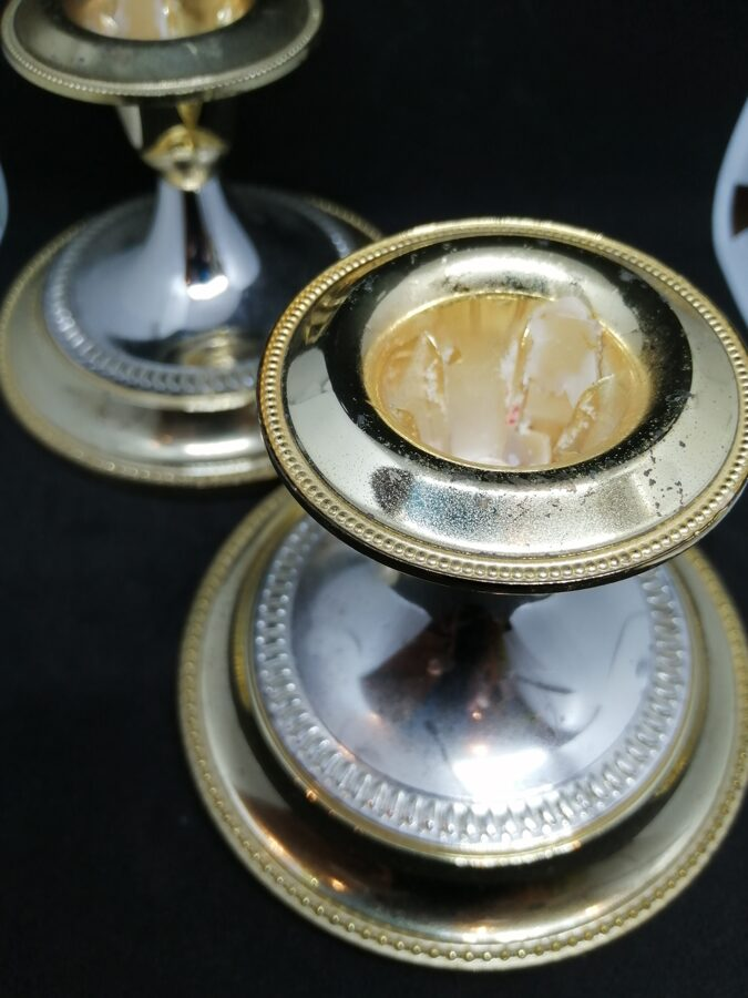 Pair of Gold/Silver Plated Candle Stands