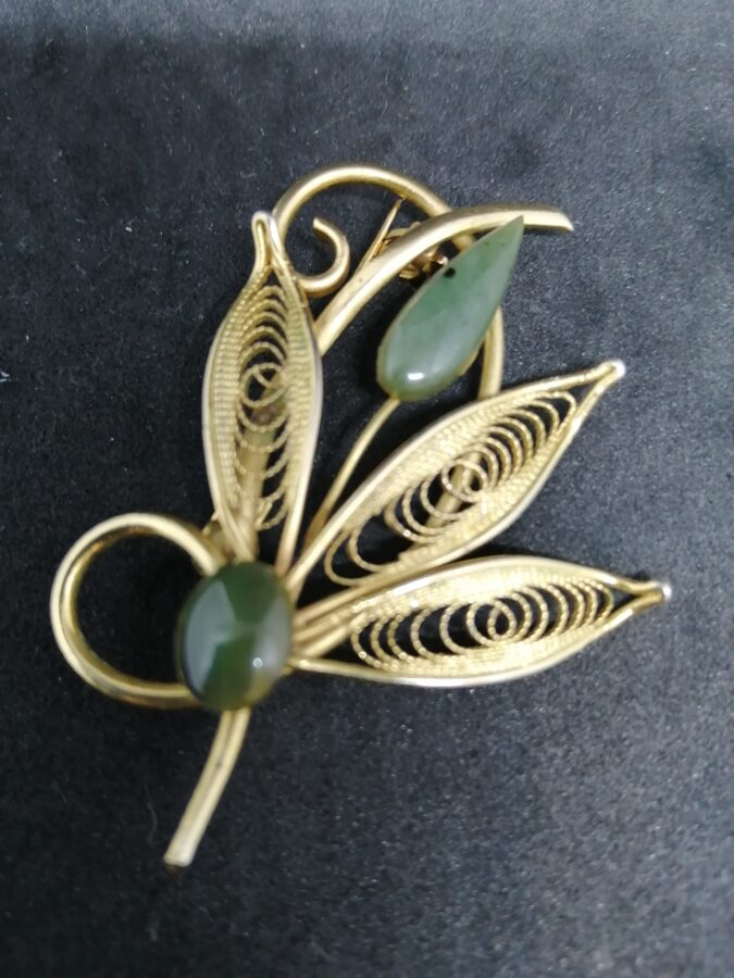 Vintage Yellow Metal With Green Decor Brooch