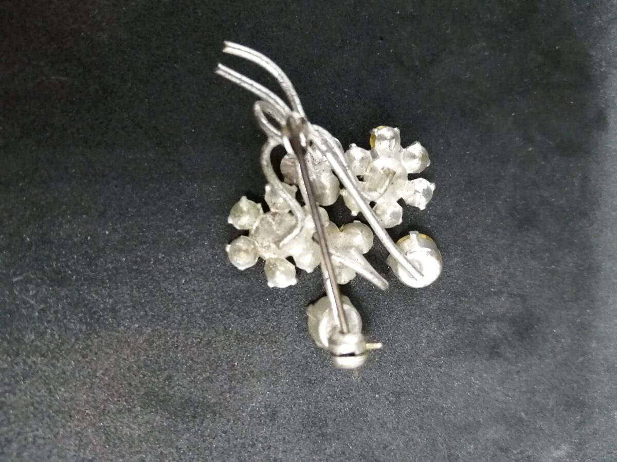 Diamante And White Metal Floral Bouquet Brooch