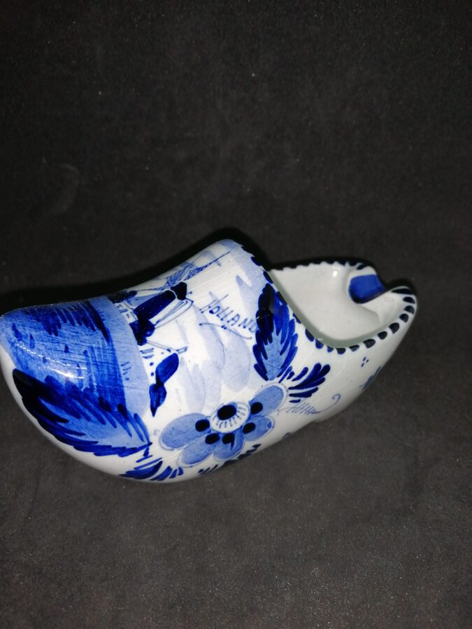 Vintage Delft Blue Hand Painted Windmill Design Clog Ashtray
