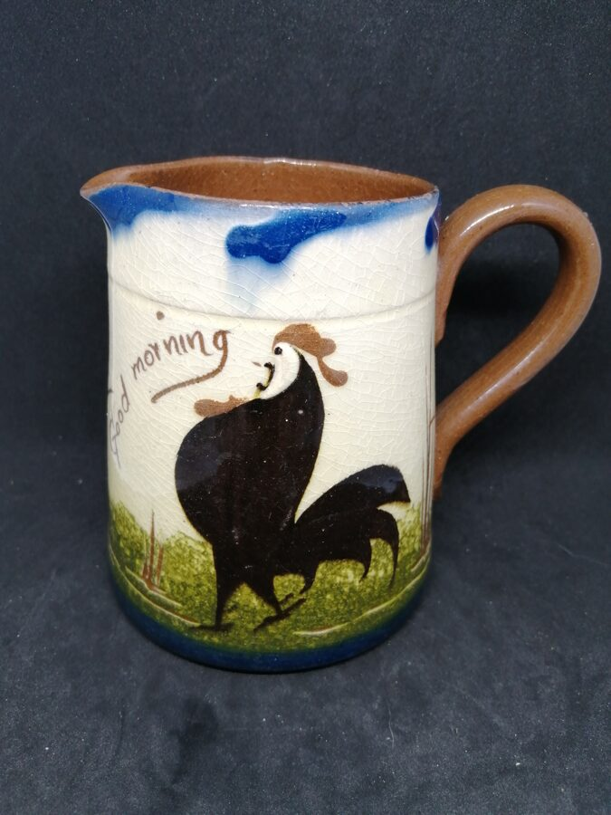 Rare Antique Watcombe Pottery Mottoware Black Rooster Creamer