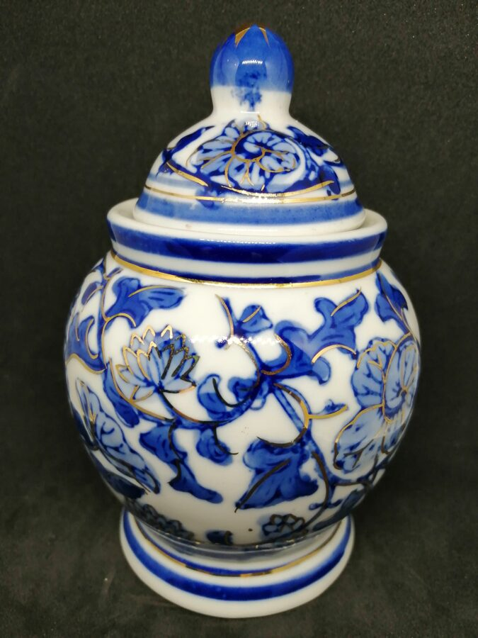 Blue And White Ginger/Spice Jar With Gold Colour