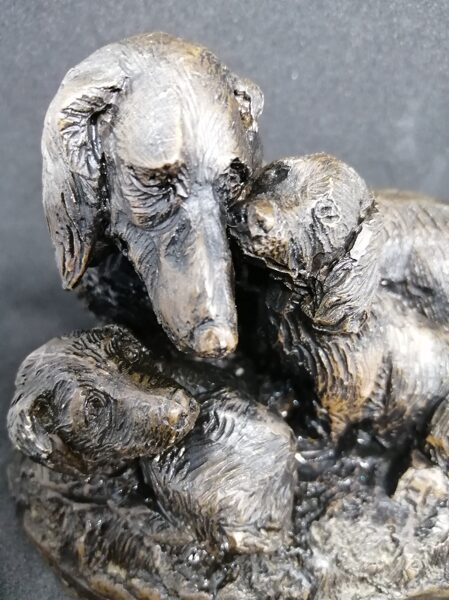 Menton Manor/Heredities Cold Cast Bronze Spaniel Dog and Pups