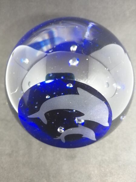 Hand Blown Glass Paperweight with Etched Dolphins