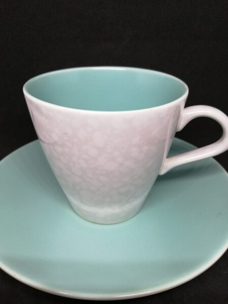 Poole Pottery Twintone Ice Green and Seagull Cup and Saucer